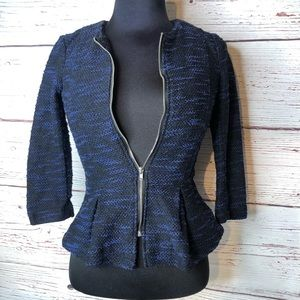 Divided Size 2 Zip Up Blazer Jacket Blue Black